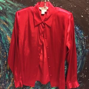 Red silky button down blouse